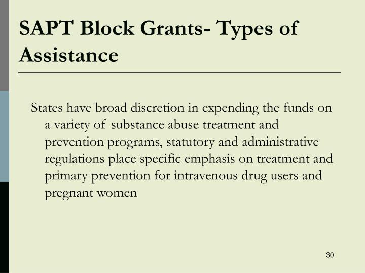 SAPT Block Grants- Types of Assistance
