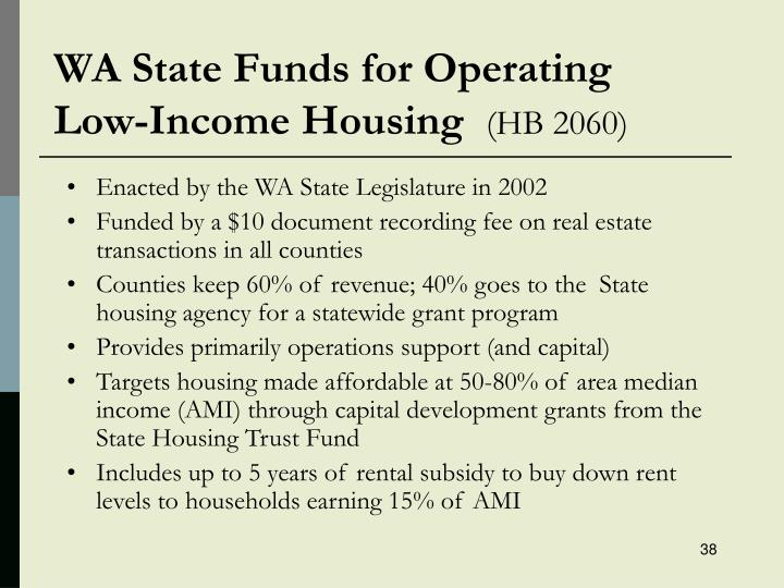 WA State Funds for Operating
