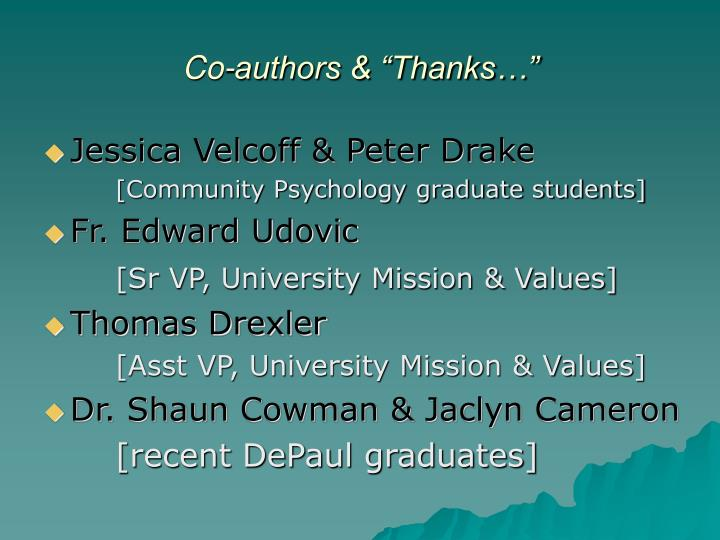 Co authors thanks