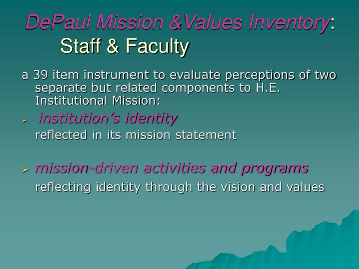 DePaul Mission &Values Inventory