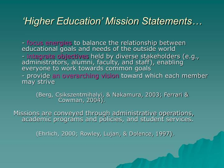 'Higher Education' Mission Statements…