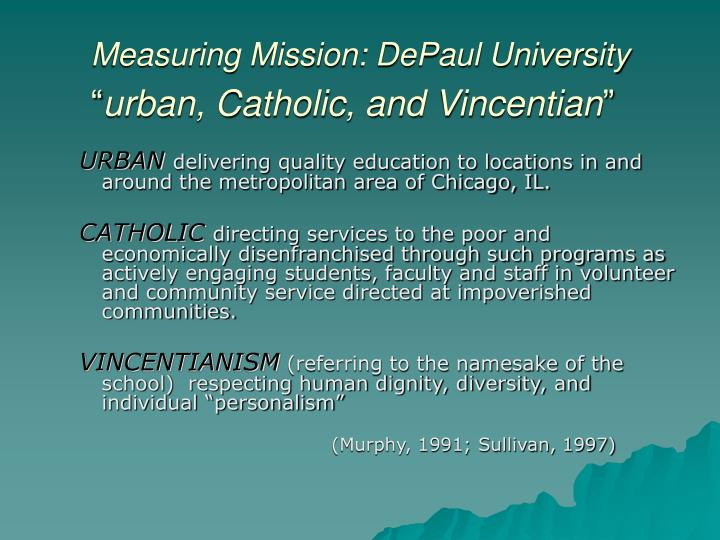 Measuring Mission: DePaul University