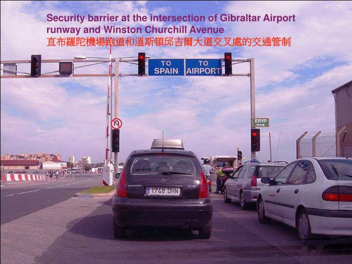 Security barrier at the intersection of Gibraltar Airport