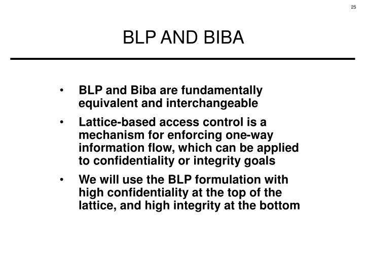 BLP and Biba are fundamentally equivalent and interchangeable