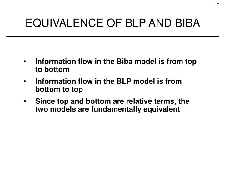Information flow in the Biba model is from top to bottom