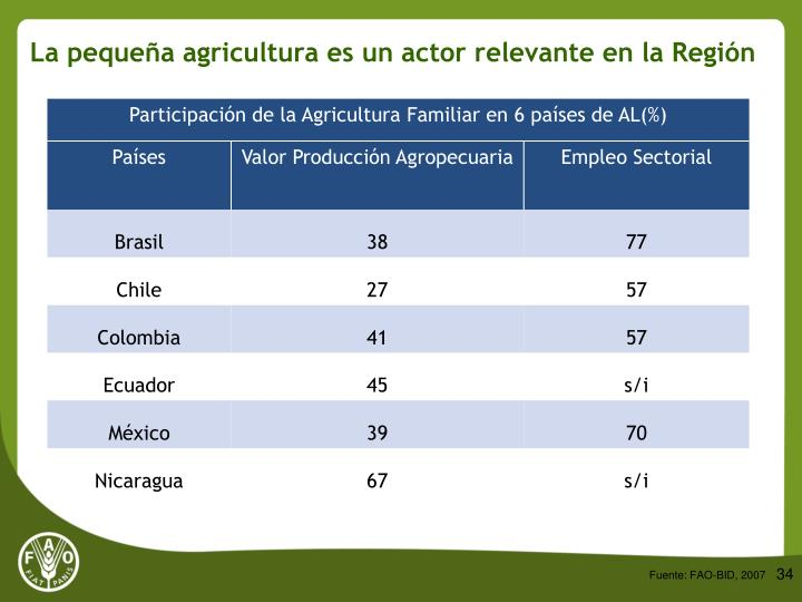 La pequeña agricultura es un actor relevante en la Región