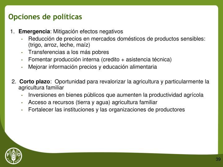 Opciones de políticas