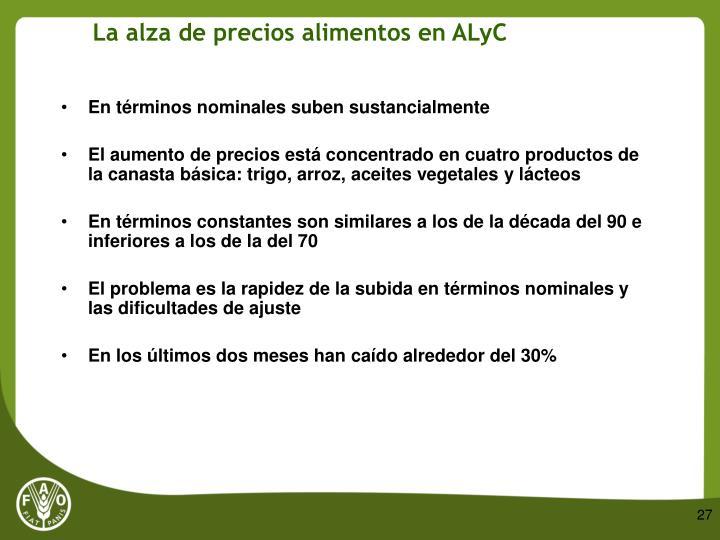 La alza de precios alimentos en ALyC