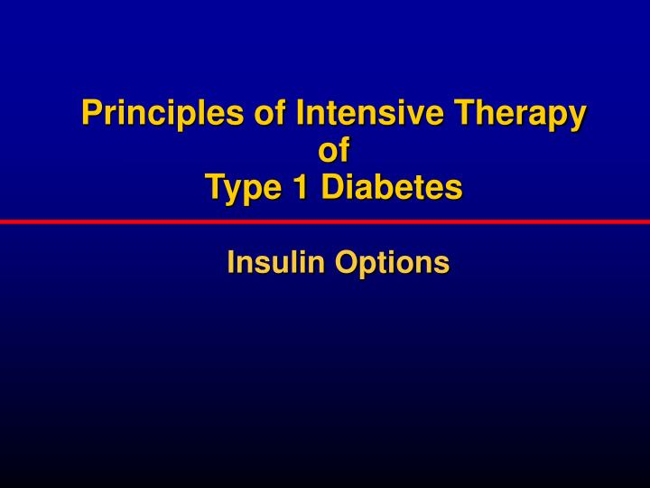 Principles of Intensive Therapy of