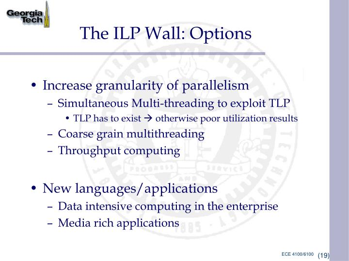 The ILP Wall: Options
