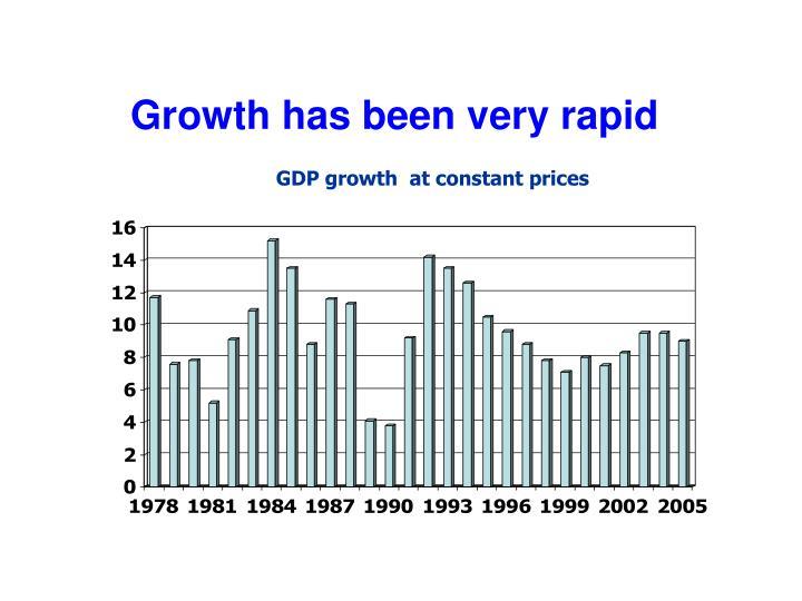 Growth has been very rapid