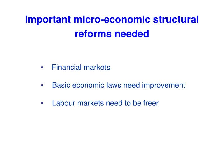 Important micro-economic structural reforms needed