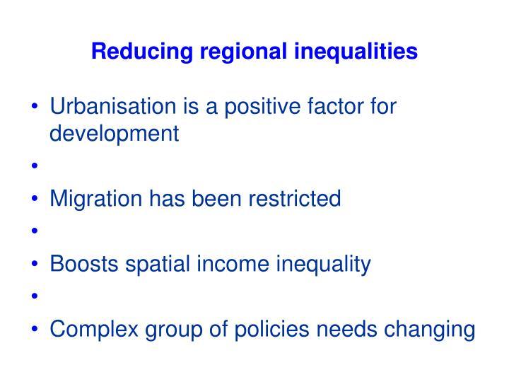 Reducing regional inequalities