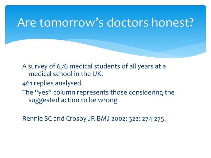 Are tomorrow's doctors honest?