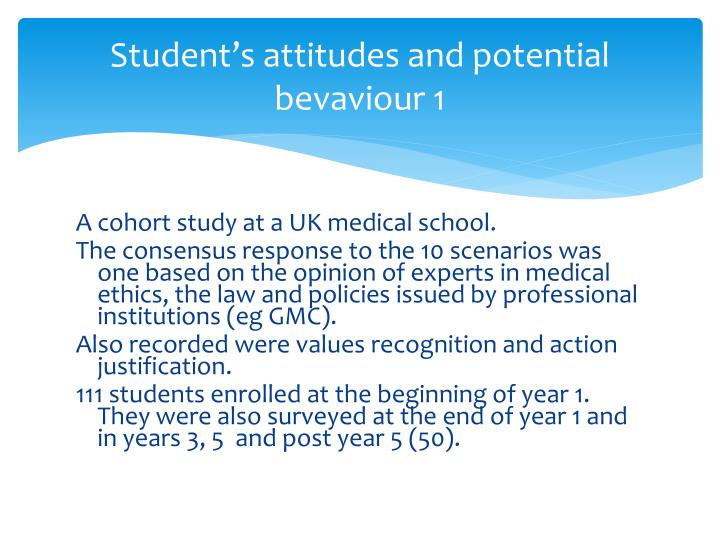 Student's attitudes and potential bevaviour 1