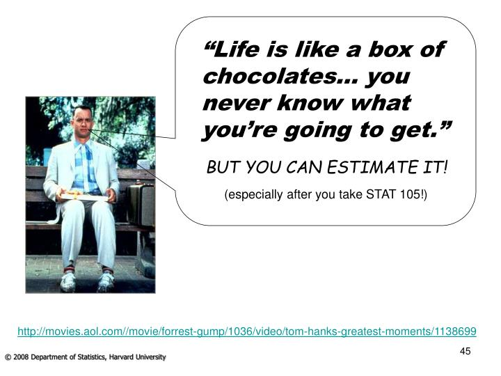 """Life is like a box of chocolates… you never know what you're going to get."""
