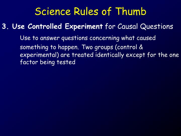 Science Rules of Thumb