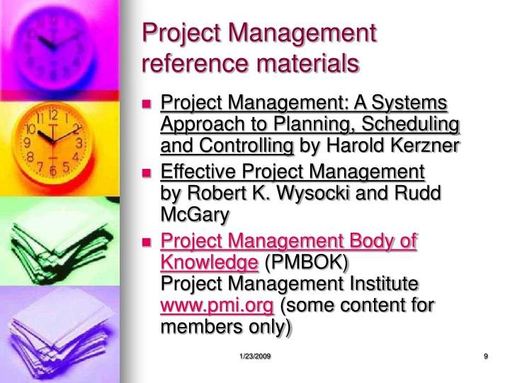 Project Management reference materials