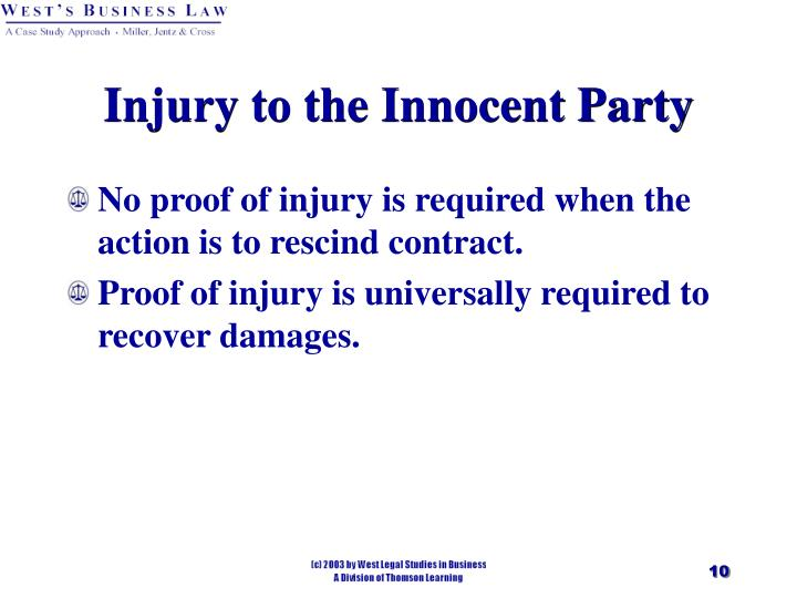Injury to the Innocent Party