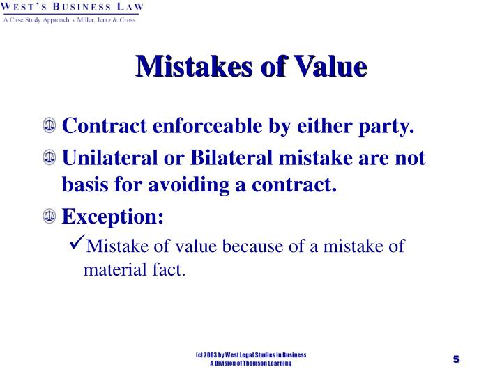 Mistakes of Value