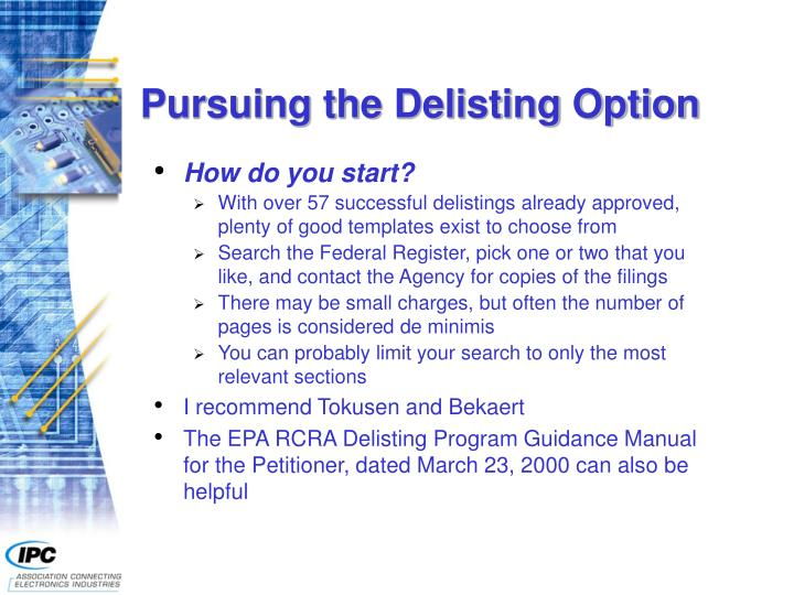 Pursuing the Delisting Option
