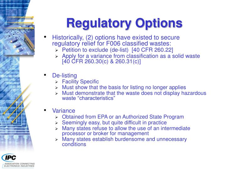 Regulatory Options