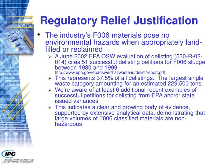 Regulatory Relief Justification