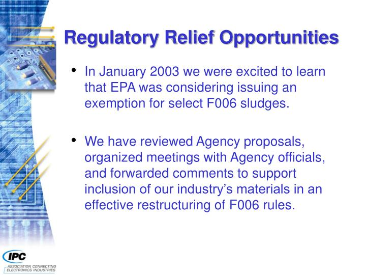 Regulatory Relief Opportunities