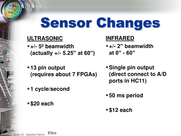 Sensor Changes