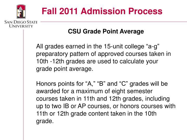Fall 2011 Admission Process