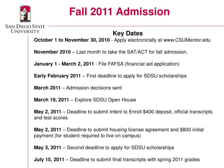 Fall 2011 Admission