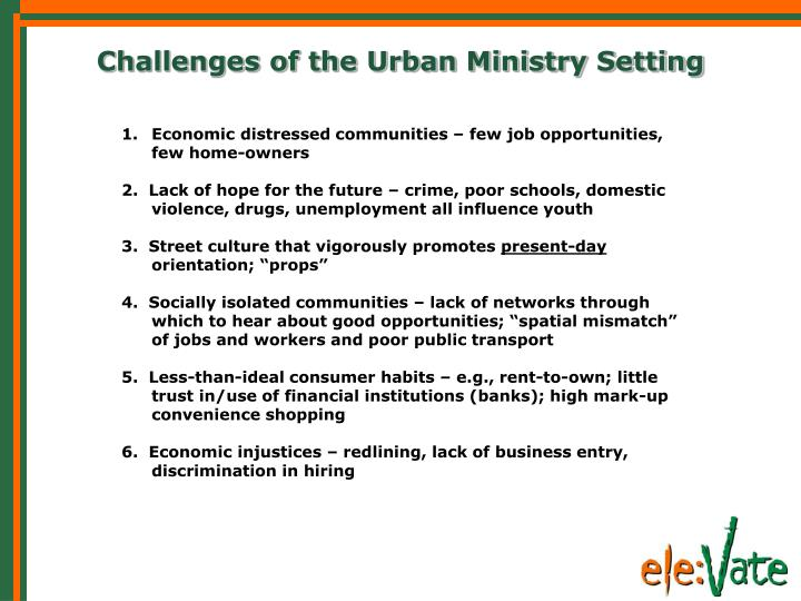 Challenges of the Urban Ministry Setting