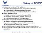 history of af spp