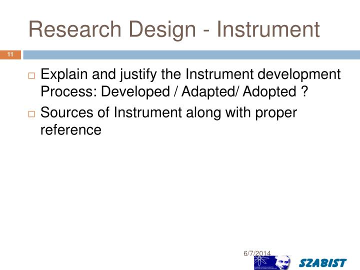 Research Design - Instrument