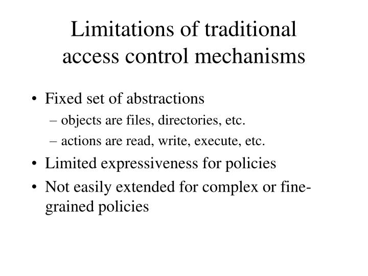 Limitations of traditional