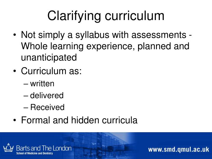 Clarifying curriculum