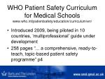 who patient safety curriculum for medical schools www who int patientsafety education curriculum en