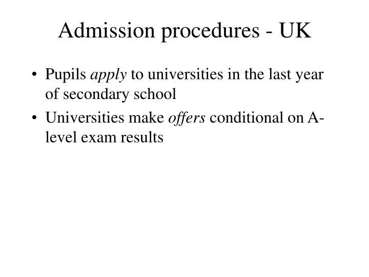 Admission procedures - UK