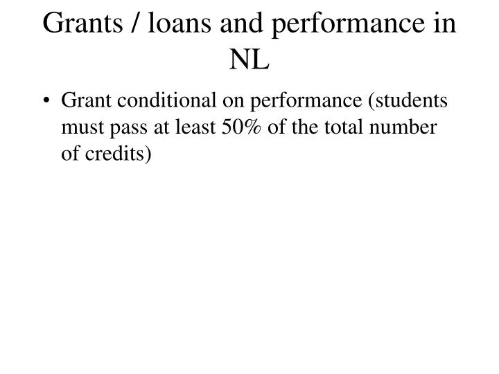 Grants / loans and performance in NL