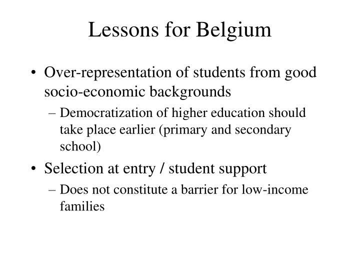 Lessons for Belgium