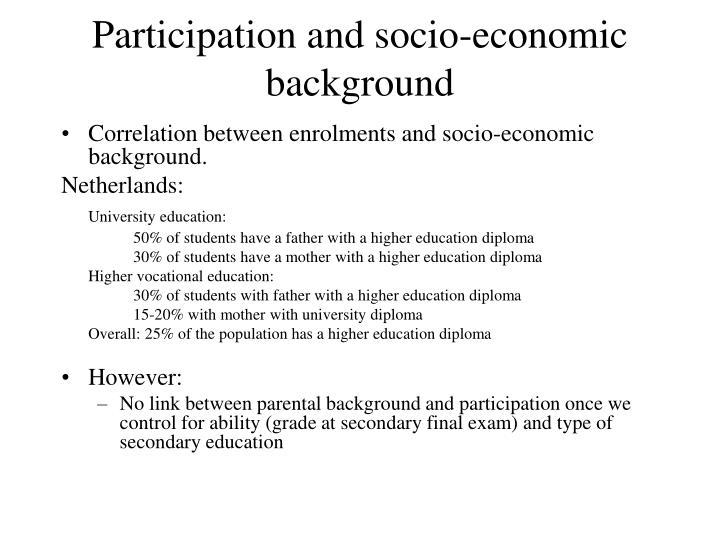 Participation and socio-economic background