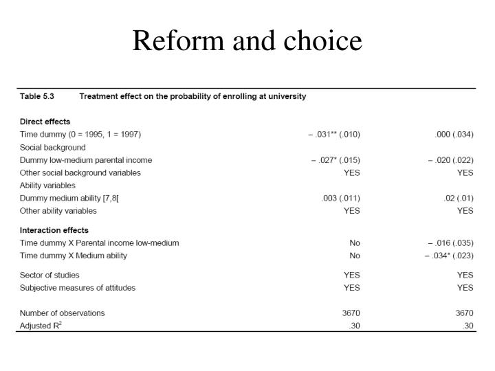 Reform and choice