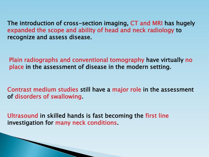 The introduction of cross-section imaging,