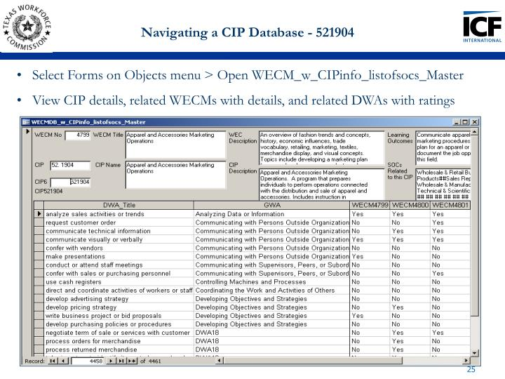 Navigating a CIP Database - 521904