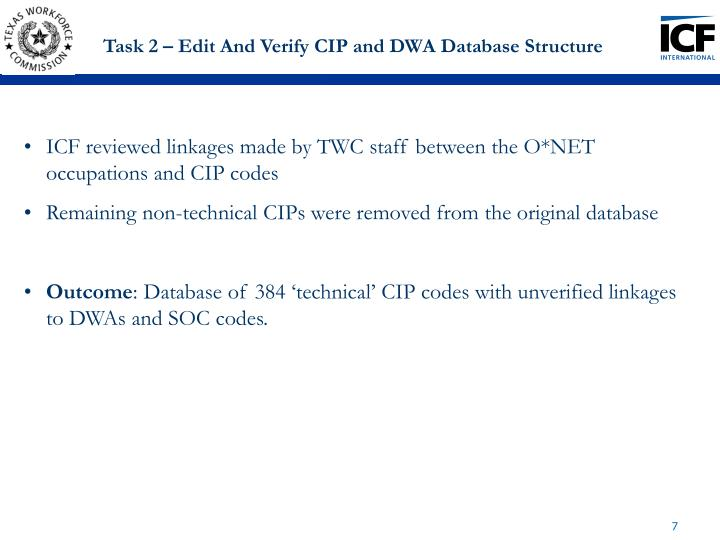 Task 2 – Edit And Verify CIP and DWA Database Structure