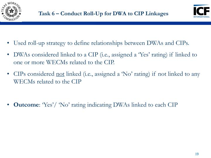 Task 6 – Conduct Roll-Up for DWA to CIP Linkages