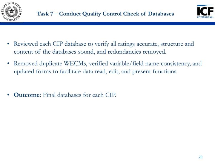 Task 7 – Conduct Quality Control Check of Databases