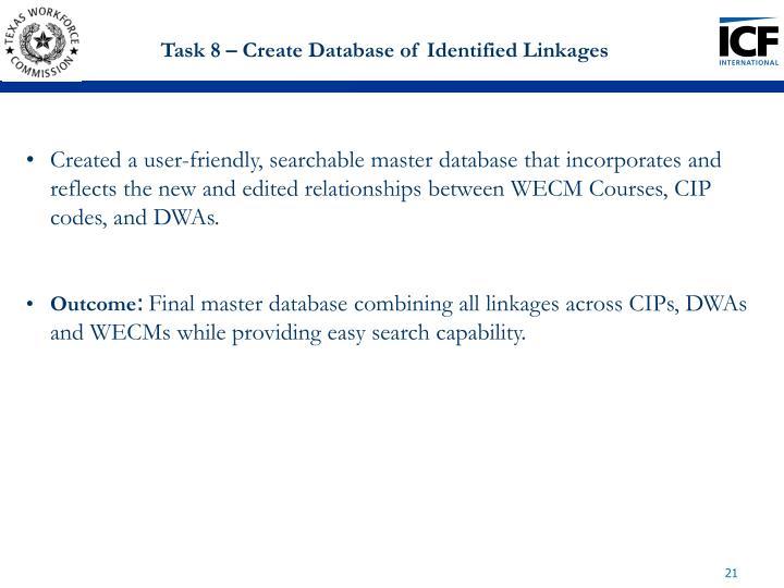 Task 8 – Create Database of Identified Linkages