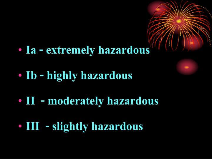 Ia - extremely hazardous