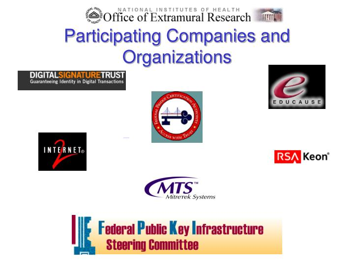 Participating Companies and Organizations
